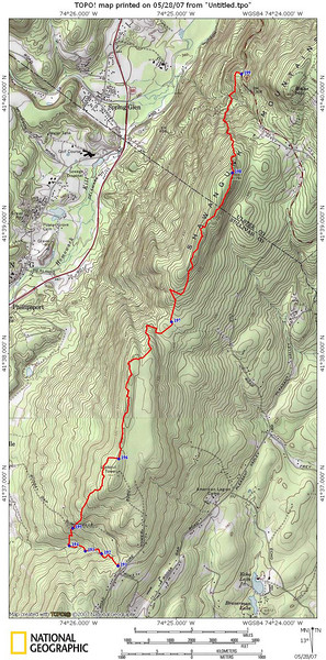 Map of the hike, starting at the corner of Shawanga Lodge Road and Ferguson Road, and ending at Rte 52.