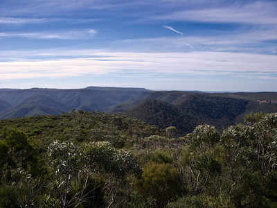 Looking towards Pallin Pass over the northern spur of Mt Talaterang. Unnamed knoll, Gadera Point and Mt Bushwalker can be seen further on from Pallin Pass.