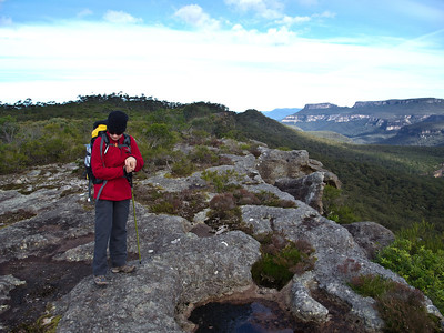 Jean on rocky tops between Mt Bushwalker and Gadera Point.
