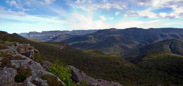 View down the Clyde Gorge from Mt Bushwalker. The Castle can be seen in the distance.