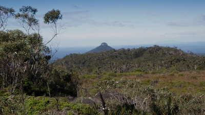 The hanging swamp on the summit of Mt Talaterang with Pigeon House in the distance.