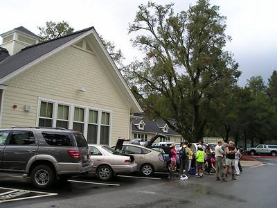 Woodside school parking lot, Sierra Club, and big oak tree.