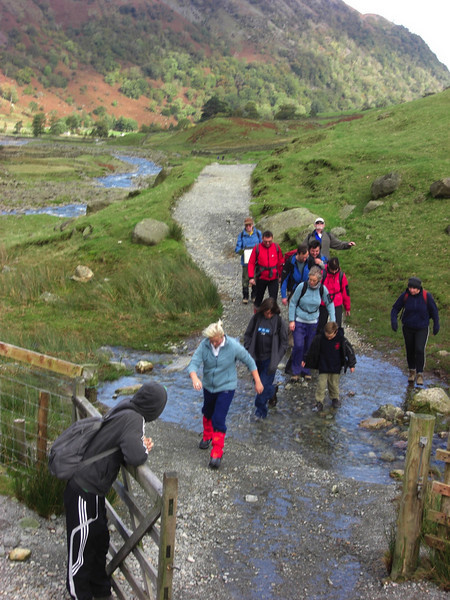 Most of the party near the start of the walk (Seathwaite farm)