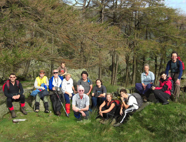 The whole group on Greenbow Knott early on the walk, a little below Styhead Tarn.  One of us was pasted in later - can you tell which?