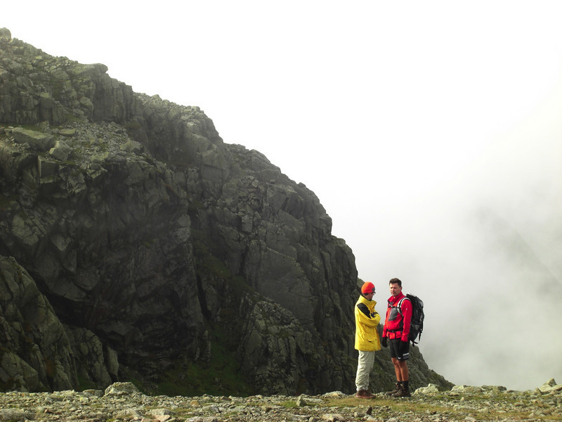 A couple of nicely-coloured strangers on Broad Crag, Scafell Pike beyond - our last clear view of it.