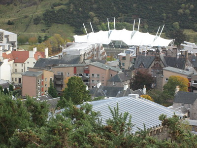 Neighbourhood of the Scottish Parliament, from Calton Hill (one side of the actual building can just be seen on the left)