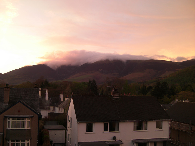 Cloud clinging to the Skiddaw range after the rain cleared in the evening