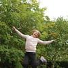 Rosa trampolining in the garden