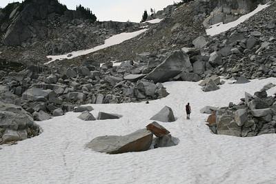 Snow and granite.