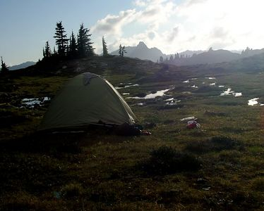 Our campsite next to mini-tarns.