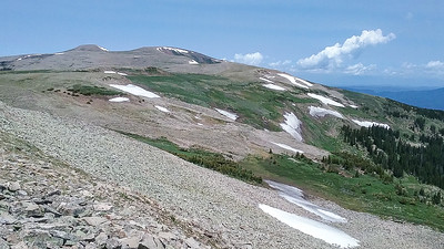 Going back along the ridge - Jicarita Peak at far left