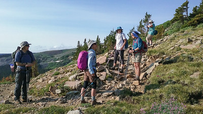 Climbing up the trail to the Ridge