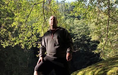 Self photo.  I was trying to pose like the 'hiker silhouette' on the Mountain Climber game from The Price is Right show.