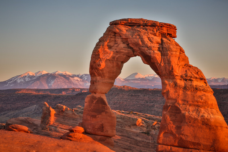 Delicate arch during sunset