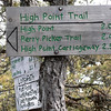 Signs at the junction of the Long Path and the High Point Trail.