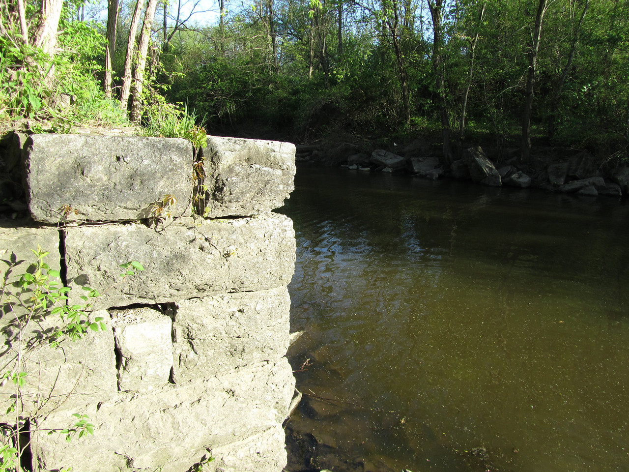 Another section of wall. There are dozens of these along the trails. I assume this was a bridge abutment or loading area.