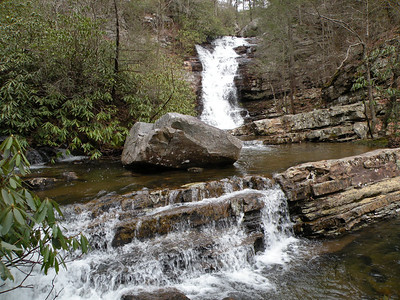 Chestnut Mountain Falls and the plunge pool and cascade in front of it. This is above Rock Creek Falls