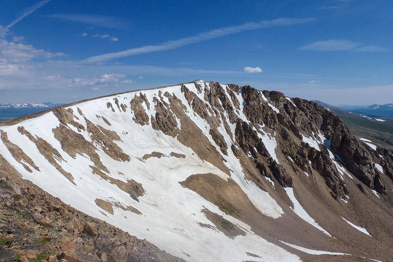 "Nice snowy ridge;  Ptarmigan Peak just ""peaking"" over at the top middle"