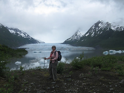 Note the ice bergs in the lake from the calving glacier.