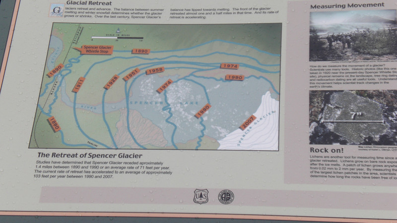 Informative sign showing the retreat of the glacier.