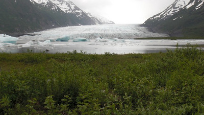 Catching our first view of the glacier and being pretty impressed.