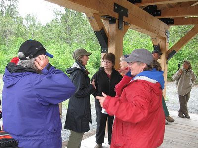 The train was late so we got in lots of talking while waiting.  Linda Swarner in dark ball cap, Barbara McNinch, Bobbie O'neill, Etta Mae Near (with blue head band), Mary Glenn (red coat)