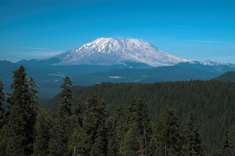 Mount St Helens from the South.  Notice how much of the mountain is missing.