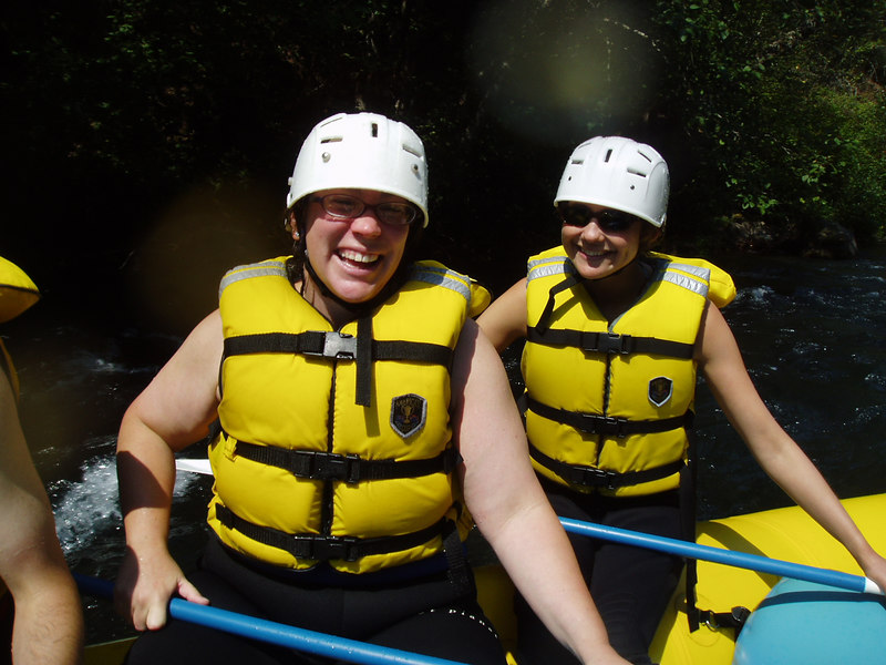 Christine and Sam hanging out on the raft