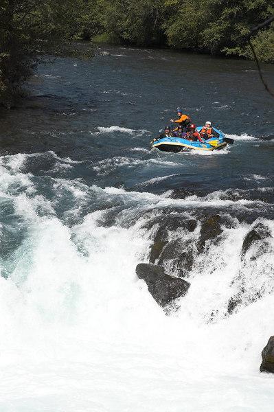 A raft approaching the falls