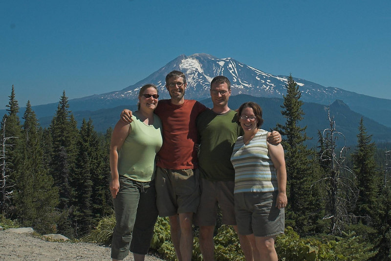 Sam, Nate, Alex, and Christine with Mount Adams in the background