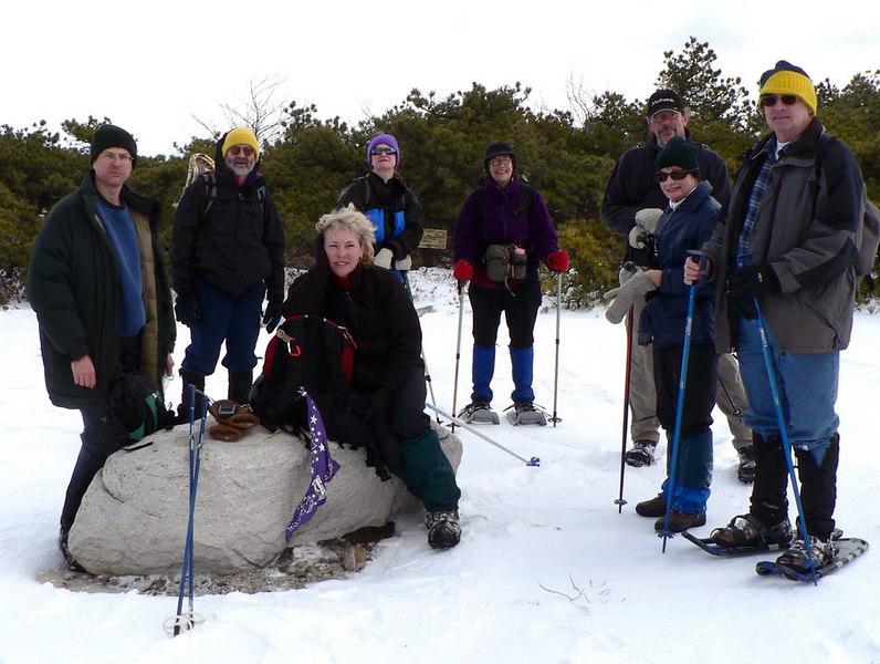 Start of the Berrypicker Trail: Noel, Malcolm, Ellen, Ellen, Annie, Jim, Judy, John
