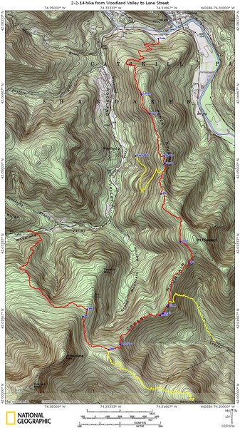 The red track (12 miles) represents our 2/2/14 hike. The yellow tracks represent prior bushwacks to Samuels Point, down Traver Hollow, and up from Fawn Hill Road. Waypoint 464-466 is a 1.5-mile section that still needs cutting.