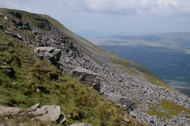 Ascending Ingleborough top, looking across the Arks and Black Shiver towards Ingleton