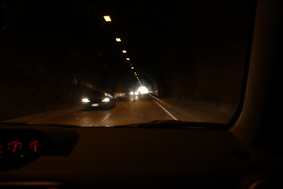 Through the long tunnel on Highway 120. We neither honked nor put our hands on the car ceiling.