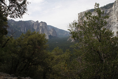 Looking west, down the valley. El Capitan on the right, Leaning Tower (?) on the left.
