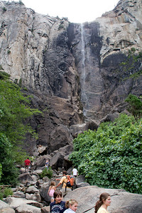 A good-sized crowd enjoyed even the sparse summer Bridalveil.