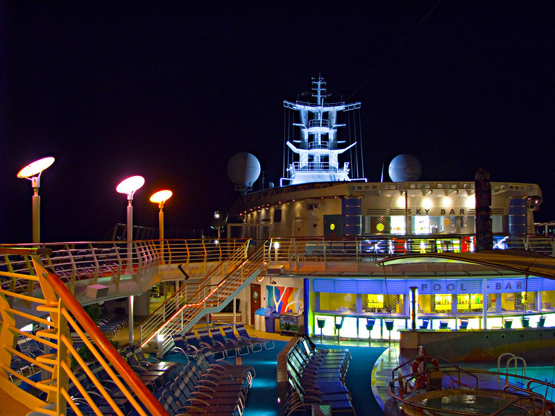 """Royal Caribbean cruise ship coming back from Mexico.  One of 8 nighttime photos taken with different exposures and angles.  This is the one that had the most """"WOW"""" factor."""