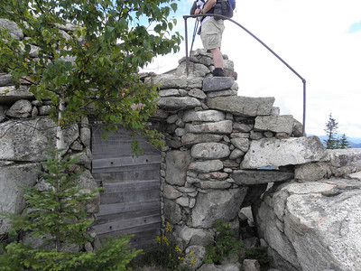 Rock structure with stairs and railing