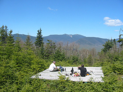 Brian, Greg, a platform, and the Franconia Range