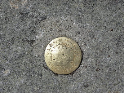 Forest Service benchmark on the Horn boulder