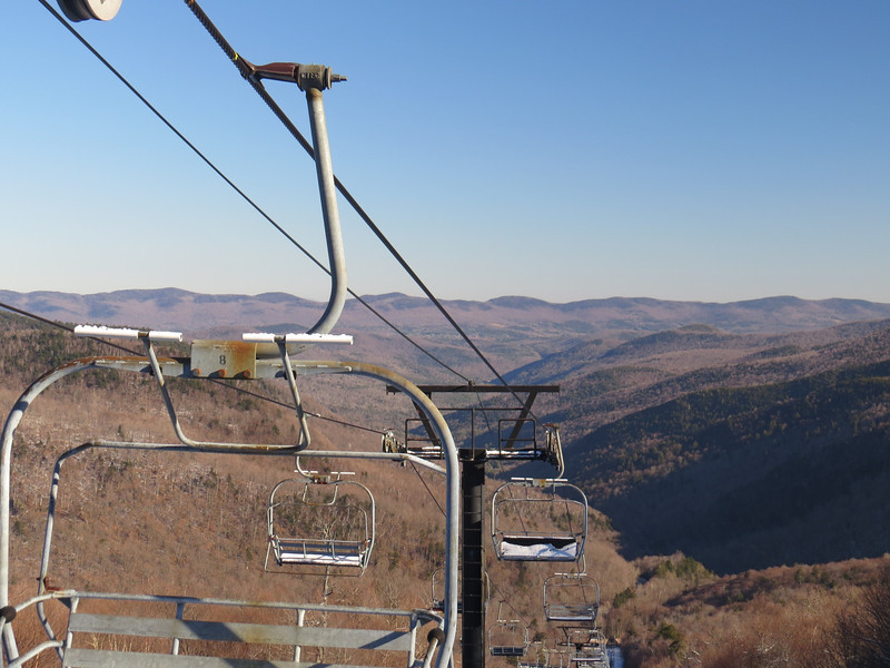 Looking down the Middlebury lift with the long ridge of Braintree Mtn in the back and Cushman right of that