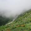 a cloud hanging in Tuckerman Ravine