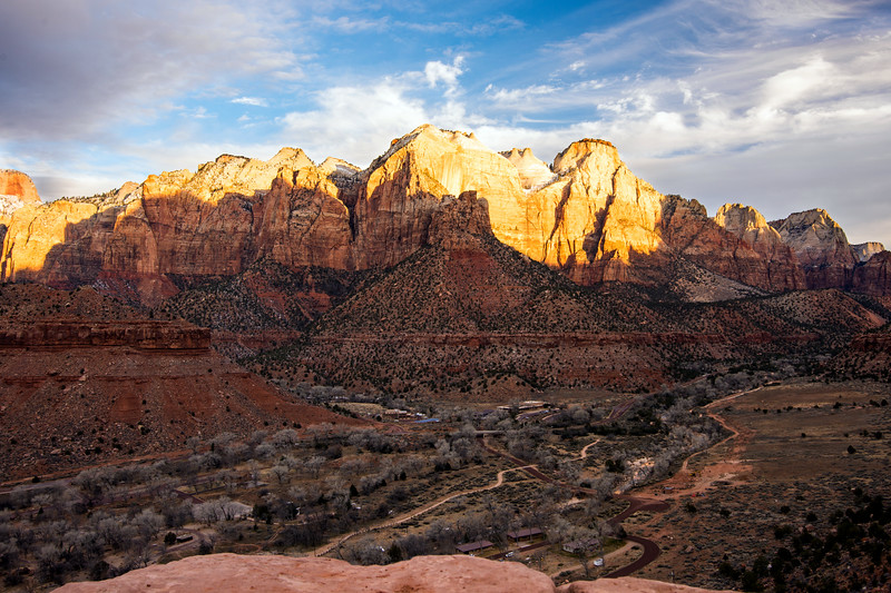 Morning sun on the west side of the canyon from The Watchman Overlook