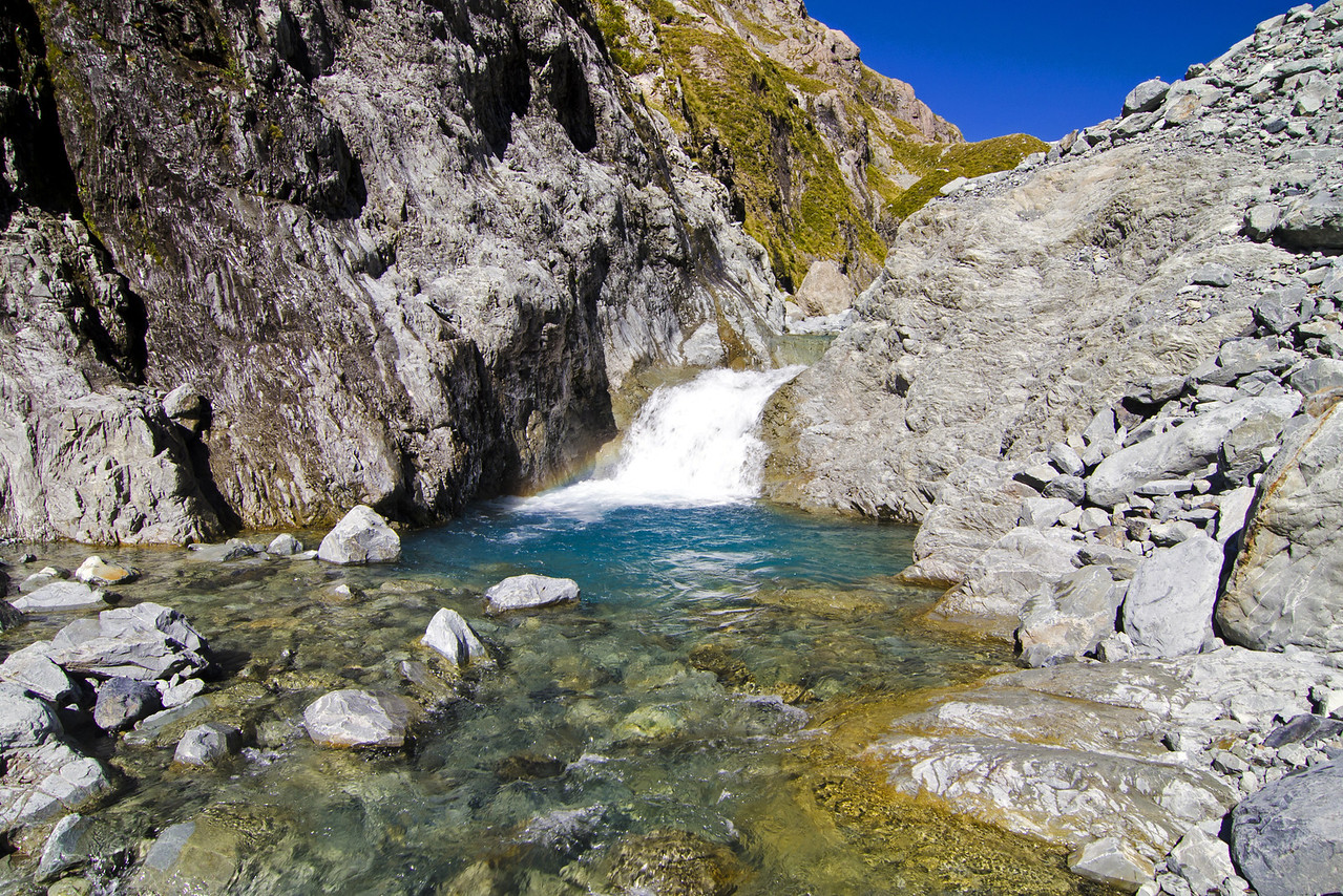 Near the end of our descent of the gorge, we were greeted by this inviting little pool.  No one could resist a quick dip in the icy water.  Gotta love it when a place literally takes your breath away.