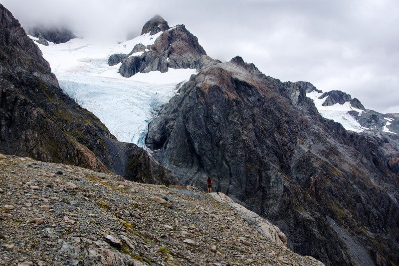 Ellyse kicks it with some keas as the Cahill Glacier looks on.