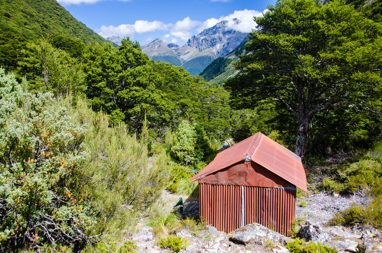 Kay Creek Hut.  A great place to kick back for awhile and enjoy some lunch as the morning clouds dissipated.