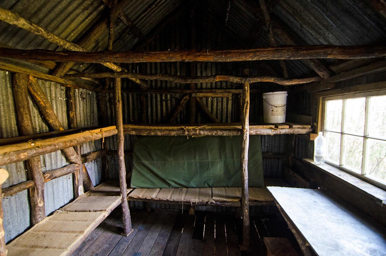 Inside Earnslaw Hut