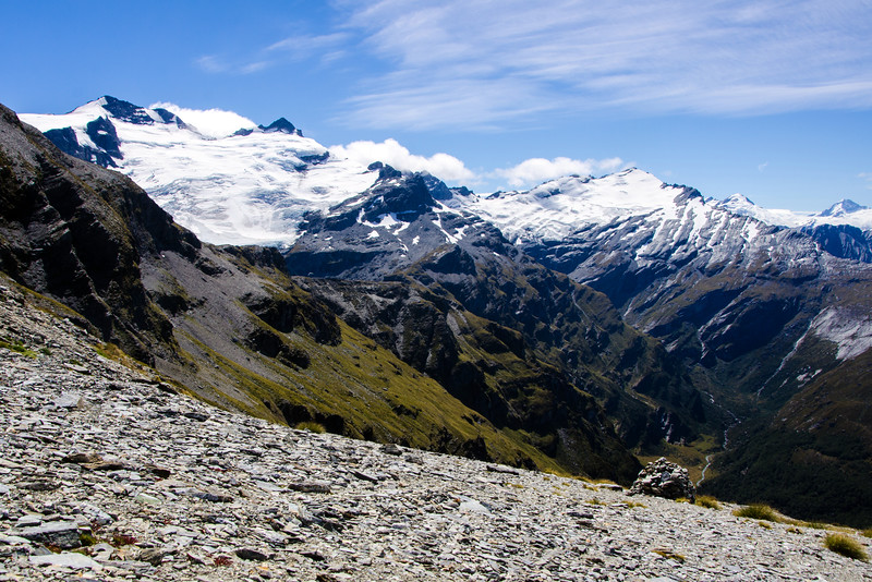 The giant cairn at 1700m.  The Forbes Mountains on the immediate skyline and Mt Aspiring rising up on the far right.