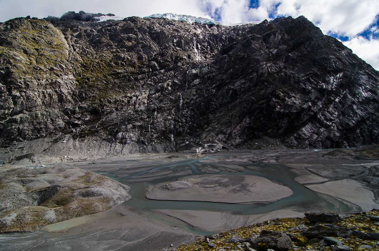 The upper reaches of the Dart River.  Water falls from the Marshall Glacier above.