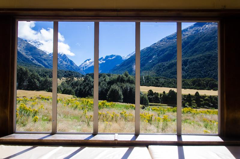 View from inside Aspiring Hut